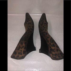 Circa Joan & David Animal Print Wedge Heels